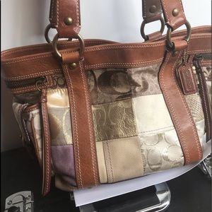 Coach real leather patch work